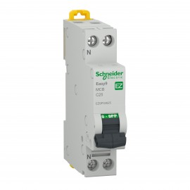 Schneider EZ9P32625 MCB 1P+N 25A Schneider Electric Easy9, 4500 A, C