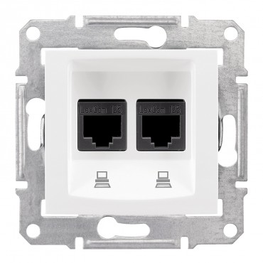 SDN4400121 SEDNA Double data outlet white SDN4400121