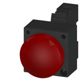 INDICATOR LIGHT WITH SMOOTH LENSE ILLUMINATED WITH INTEGRATED LED 24V AC/DC SCREW TERMINAL WITH HOLDER RED Siemens