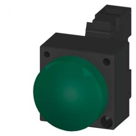 INDICATOR LIGHT WITH SMOOTH LENSE ILLUMINATED WITH INTEGRATED LED 24V AC/DC SCREW TERMINAL WITH HOLDER GREEN Siemens