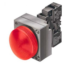 INDICATOR LIGHT, 22MM, ROUND, METAL, GREEN, LENS, CONCENTRIC RINGS, WITH HOLDER, LAMPHOLDER, WITH INTEGRATED LED AC/DC 24V, SCREW CONNECTION Siemens