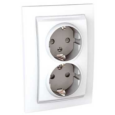 MGU23.067.18D SCHNEIDER ELECTRIC UNICA Double Socket Outlet 2P+E White
