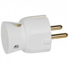 050316 Legrand 2P+E Plug - 16 A - German Standard - Plastic Side Outlet - White - Bulk