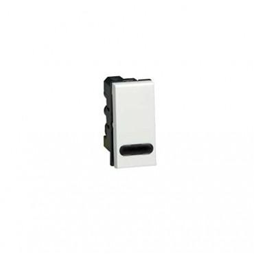 074032 LEGRAND MOSAIC 2-Way Push-Button Mosaic - With LED Indicator - 6 A 250 V~ - 1 Module - White