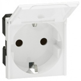074133 LEGRAND MOSAIC Socket outlet Mosaic - German standard - 2P+E with cover - 2 modules
