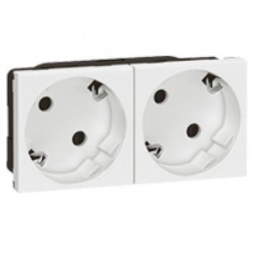 077252 LEGRAND MOSAIC Multi-support multiple socket Mosaic - 2 x 2P+E automatic terminals - standard