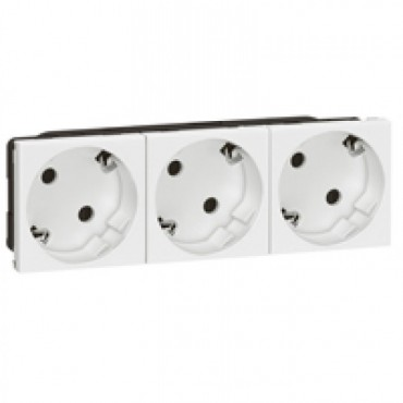 077253 LEGRAND MOSAIC Multi-support multiple socket Mosaic - 3 x 2P+E automatic terminals - standard