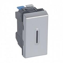 079232 LEGRAND MOSAIC 2-Way Push-Button Mosaic - With LED Indicator - 6 A 250 V~ - 1 Module - Alu
