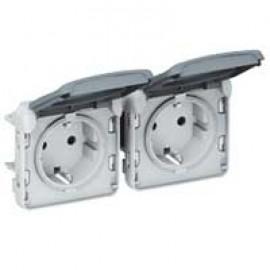 Socket outlet prewired Plexo IP55-German standard-2x2P+E horizontal-modular-grey