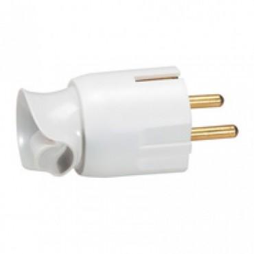 2P+E plug - 16 A - Fr/German standard - cable orientation - white - gencod labelling