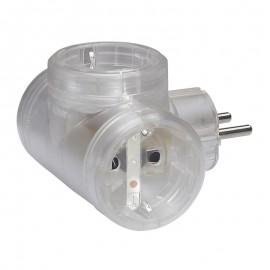 2P+E multi-socket plug - German standard - 3 side outlets - transparent - cardboard